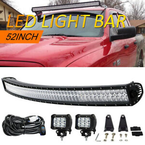 Curved Led Light Bar 52inch 700w Combo 2x 4 Pods Jeep Ford 4x4 Offroad Kit