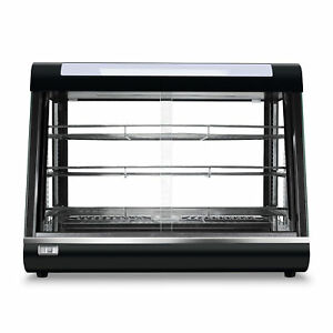 Food Court Restaurant Heated Food Pizza Display Warmer Cabinet Case Glass Black