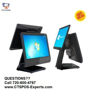 New Pos All In One Point Of Sale Touch Screen 15 Customer Display Dual Screen