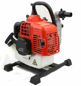 Portable 33cc Gas Gasoline Water Pump 1 2 Stroke Engine 1850gph 26 5ft Suction
