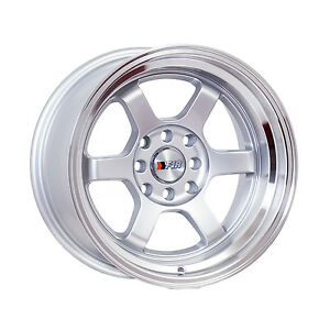 F1r Wheels F05 Rims 15x8 4x100 4x114 3 0 Offset 3 Lip Silver With Polished Lip