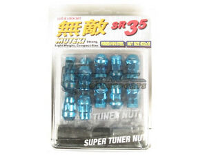 Muteki Sr35 Extended Closed Ended Wheel Tuner Lug Nuts Chrome Blue 12x1 25mm New