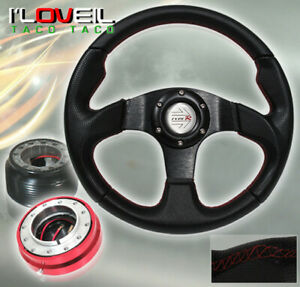 92 95 Honda Civic Black Steering Wheel Red Short Quick Release Adapter Hub