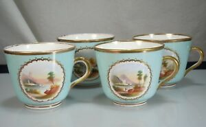 4 Antique Porcelain Cups With Hand Painted Scenes 54298