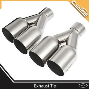 Universal Dual Angled Stainless Steel Exhaust Tip 2 5 Inlet 3 5 Outlet 10 25