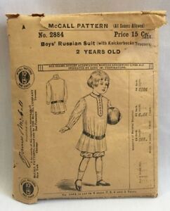 Rare Edwardian 1908 Mccall Sewing Pattern 2884 Boys Russian Suit Sz 2 2281f
