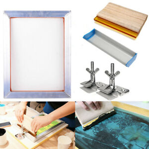 Screen Printing Kit Aluminum Frame Hinge Clamp Emulsion Coater Squeegee 1 Set