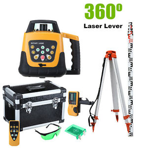 Rotary Green Beam Self leveling Laser Level 500m Tripod Staff Measure Kit Case