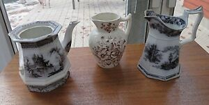 3 Ironstone Pitchers 1800s Transferware Brown Black Mulberry W Adams Cu1