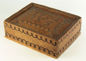 Antique Early Folk Art Dated 1794 Wooden Slide Top Box Dovetailed Construction