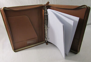 Levenger 3 ring Binder Folio Brown Leather W Levenger Paper