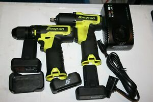 Snap On Tools 14 4 V Microlithium Drill 3 8 Drive Impact Wrench Kit Yellow