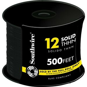 Southwire 22964158 500 ft 12 awg Stranded Black Copper Thhn Wire By roll New Fsh