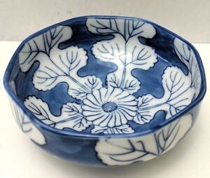 Antique Chinese Blue And White Porcelain Pottery Handmade Octagonal Small Bowl