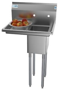 1 Compartment Stainless Steel Commercial Kitchen Prep Utility Sink W Drainboard