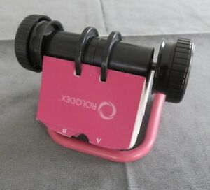 Rolodex Open Pink Rotary Business Card File missing K Tab Good Condition
