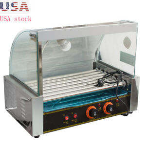 New Electric 18 Hot Dog 7 Roller Grill Cooker Machine With Cover 1050w