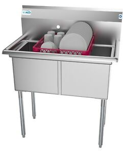 2 Two Compartment Nsf Stainless Steel Commercial Kitchen Prep Utility Sink 36