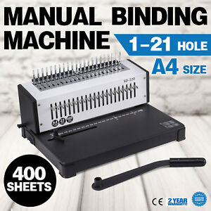 Manual 1 21 Hole 400 Sheet Paper Comb Binding Machine Punch Binder Puncher