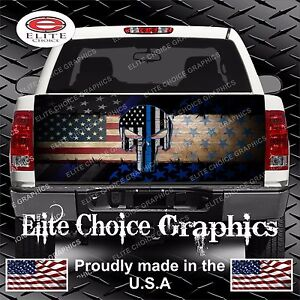 Police Skull Thin Blue Line Flag Truck Tailgate Wrap Vinyl Graphic Decal Sticker