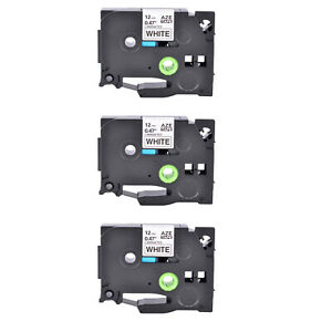 3pk Tze231 Black On White Label Tape For Brother P touch Pt 1280 P700 1 2 12mm