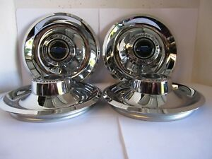 4 Chevy Gm Disk Brakes Rally Wheel Center Hub Caps W Blue Chevy Decal