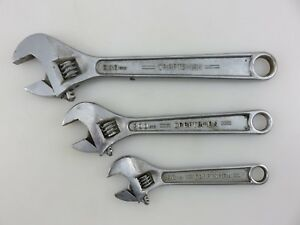 Craftsman 44602 44603 44604 6 8 10 Adjustable Wrench 3pc Set Forged Usa