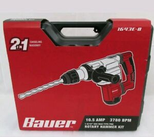 Bauer 1643e b Rotary Hammer Kit 10 5 Amp 1 9 16 Sds Max Type Pro 2 In 1