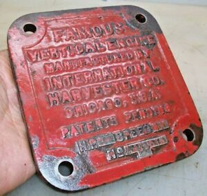 Name Plate For 3hp Ihc Famous Vertical Hit And Miss Old Gas Engine