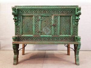 Large Indian Antique Teak And Iron Green Damchiya Dowry Ornate Chest C 1850