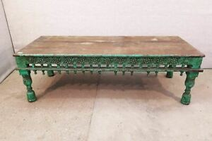 Very Rare Massive Solid Antique Indian Coffee Table C 1850s Heavily Ornate Beau