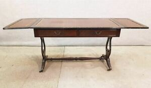 Vintage French Dropleaf Hall Or Sofa Side Table Two Drawers Lyre Base Ends