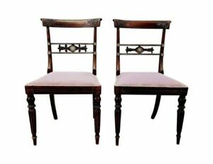Pair Of French Vintage Imperial Neoclassical Carved Oak Accent Chairs