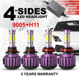 4 side 360 9005 H11 240w 64000lm Led Headlight High Low Beam Canbus Error Free