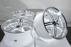 18x8 4x100 4x114 3 White Wheels Fits Integra Cobalt Accord Prelude 4 Lug Rims