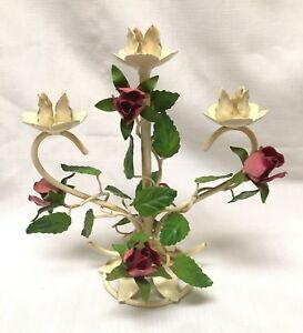 Vintage Italian Tole Toleware Table Desk Top Candle Holder Red Roses W Leaves
