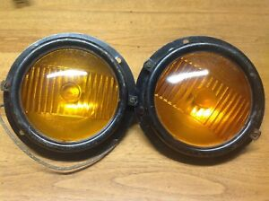 Nos Pair Early Flange Mt Turn Lamp Kd 775f Vintage Truck Bus Light Glass Amber