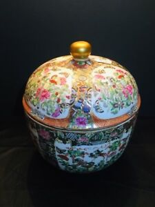 Chinese Grand Rose Medallion Temple Jar Signed Asian China
