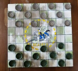 Ooak Seabees Seabee Hand Painted Wooden Checker Board W Checkers Primitive New