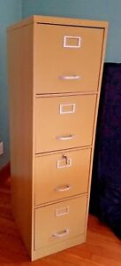 Vintage Mcm Metal File Cabinet W key By Century 18 All Steel Butter Yellow