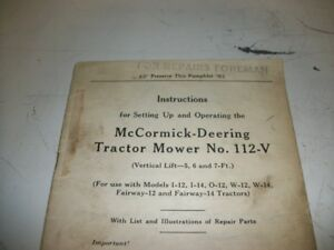 Ih Farmall Mccormick Instructions Tractor Mower No 112v Pamphlet 32 Pages 1939