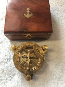 Brass Sun Dial And Compass Navigation Device In Brand New Condition