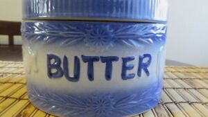 Antique Stoneware Pottery Covered Butter Crock W Handle Lid Cobalt Blue Cows
