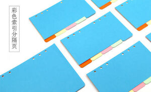5 Sheets 1 Set A6 9 5x17 2cm 6 Holes Candy Color Colorful Divider Separate Page