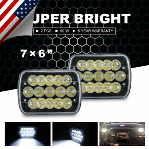5x7 7x6 Led Headlight Projector Car Crystal Hi lo Sealed Beam Universal Lamp