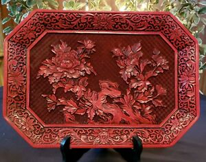 Unique Vintage Antique Carved Red Cinnabar Tray With Magnolia Flowers