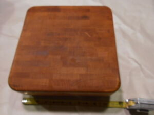 Vintage Butch R Boy Wood Block Sanded Cleaned Cutting Board 11 Sq 2 5 Thick