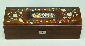 Antique Fine Rose Wood Box W Mother Of Pearl Inlay Pietra Dura Micro Mosaic