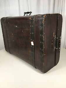 Unusual Old Wooden Travel Document Stagecoach Cabin Hinged Lockable Trunk Chest