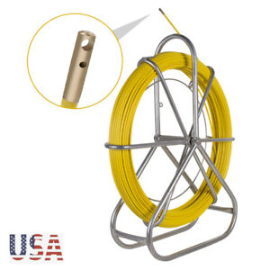 New 6mm Fiberglass Running Wire Cable Rod Duct Fish Tape Pull Push Kit 130m